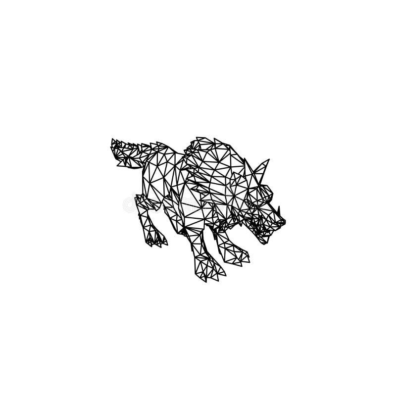 Linha projeto da arte do lobo ilustração do vetor