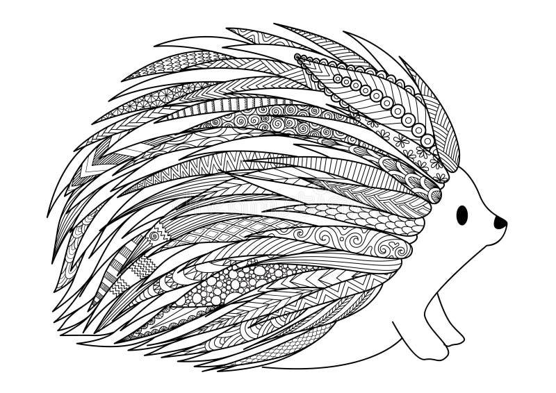Linha projeto da arte do ouriço para o projeto da camisa de t, página adulta do livro para colorir ilustração do vetor