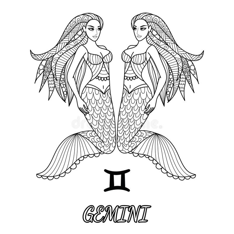 Linha projeto da arte do sinal do zodíaco dos Gêmeos para o elemento do projeto e a página do livro para colorir do adulto Ilustr ilustração royalty free