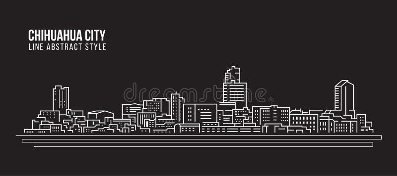 Linha projeto da construção da arquitetura da cidade da ilustração do vetor da arte - cidade da chihuahua ilustração stock