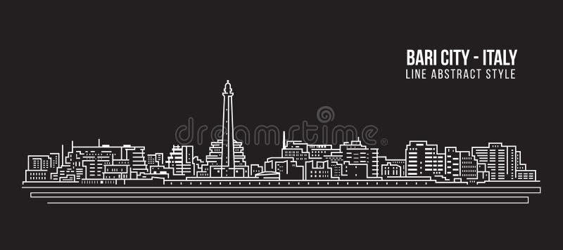 Linha projeto da construção da arquitetura da cidade da ilustração do vetor da arte - cidade de Bari ilustração stock