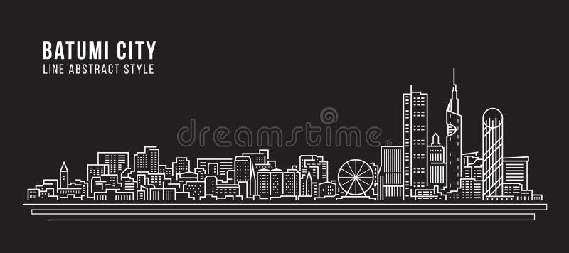 Linha projeto da construção da arquitetura da cidade da ilustração do vetor da arte - cidade de Batumi ilustração stock