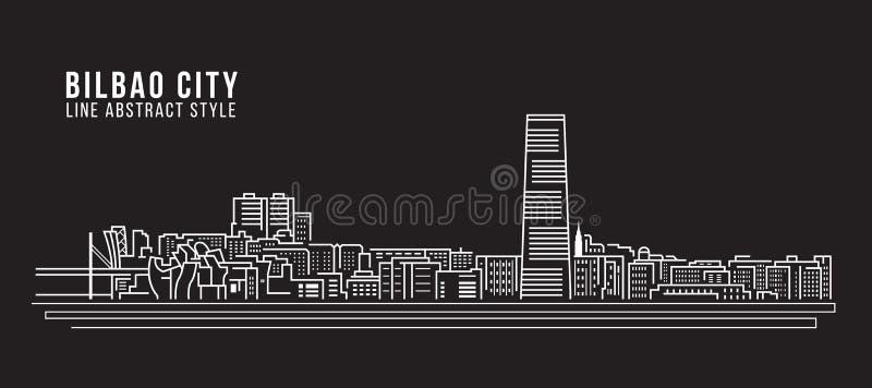 Linha projeto da construção da arquitetura da cidade da ilustração do vetor da arte - cidade de Bilbao ilustração royalty free