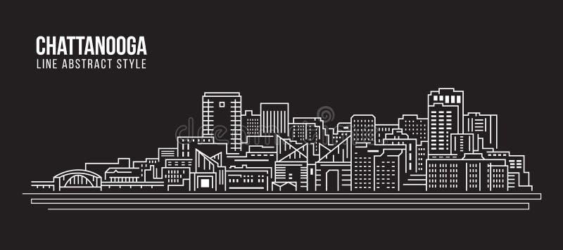 Linha projeto da construção da arquitetura da cidade da ilustração do vetor da arte - cidade de Chattanooga ilustração stock