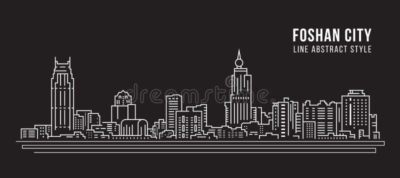 Linha projeto da construção da arquitetura da cidade da ilustração do vetor da arte - cidade de Foshan ilustração do vetor