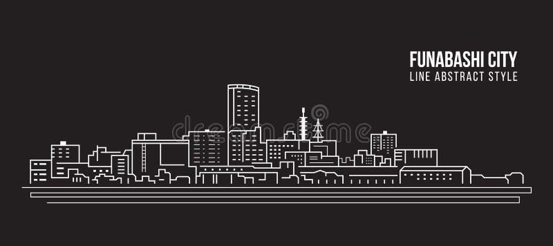 Linha projeto da construção da arquitetura da cidade da ilustração do vetor da arte - cidade de Funabashi ilustração stock