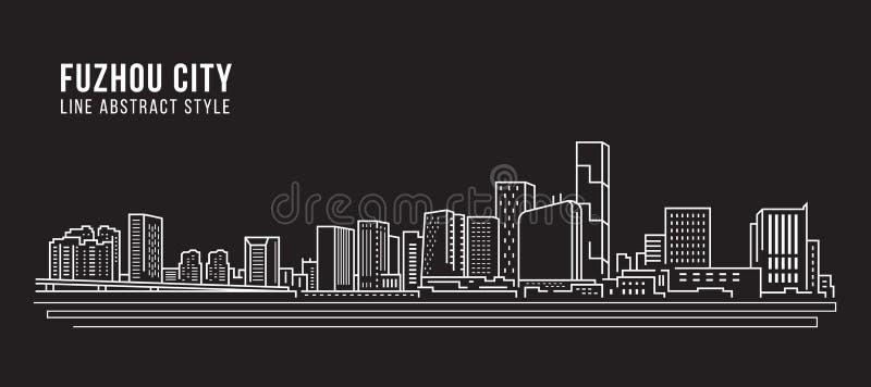 Linha projeto da construção da arquitetura da cidade da ilustração do vetor da arte - cidade de Fuzhou ilustração do vetor