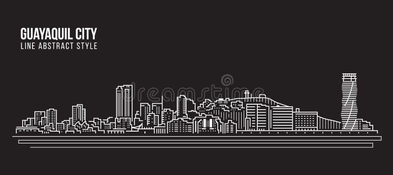 Linha projeto da construção da arquitetura da cidade da ilustração do vetor da arte - cidade de Guayaquil ilustração do vetor