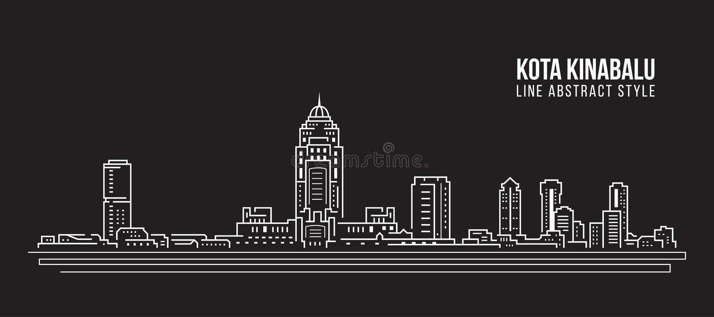 Linha projeto da construção da arquitetura da cidade da ilustração do vetor da arte - cidade de Kota Kinabalu ilustração royalty free