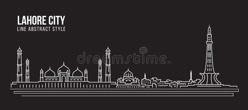 Linha projeto da construção da arquitetura da cidade da ilustração do vetor da arte - cidade de Lahore ilustração royalty free