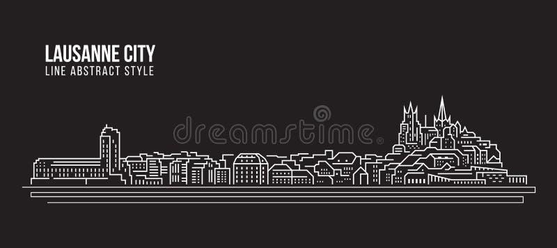 Linha projeto da construção da arquitetura da cidade da ilustração do vetor da arte - cidade de Lausana ilustração royalty free