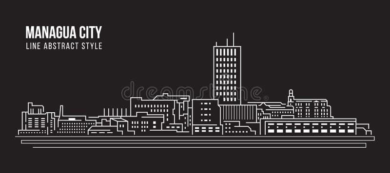 Linha projeto da construção da arquitetura da cidade da ilustração do vetor da arte - cidade de Managua ilustração stock