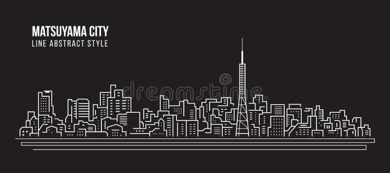 Linha projeto da construção da arquitetura da cidade da ilustração do vetor da arte - cidade de Matsuyama ilustração do vetor