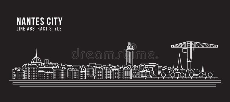 Linha projeto da construção da arquitetura da cidade da ilustração do vetor da arte - cidade de Nantes ilustração do vetor