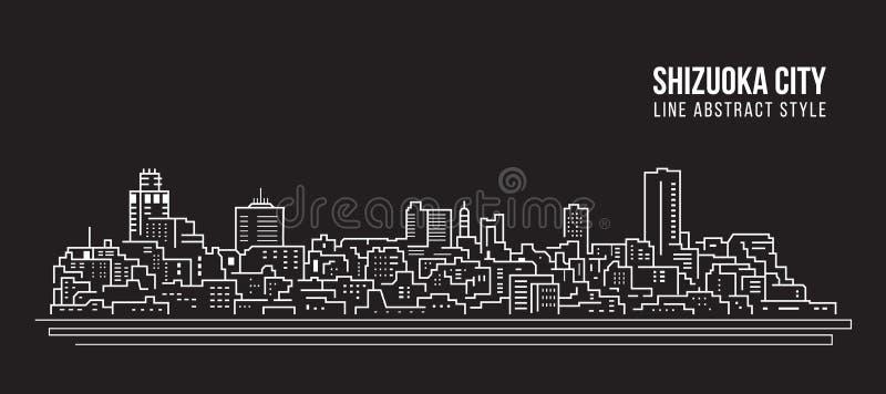 Linha projeto da construção da arquitetura da cidade da ilustração do vetor da arte - cidade de Shizuoka ilustração royalty free