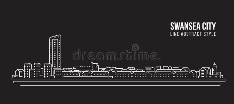 Linha projeto da construção da arquitetura da cidade da ilustração do vetor da arte - cidade de Swansea ilustração stock