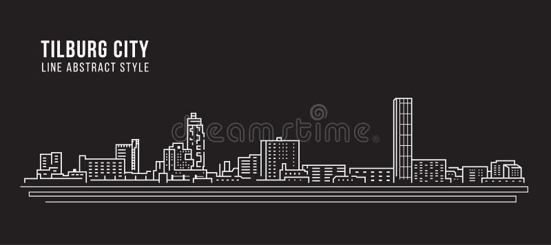 Linha projeto da construção da arquitetura da cidade da ilustração do vetor da arte - cidade de Tilburg ilustração royalty free