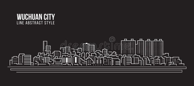 Linha projeto da construção da arquitetura da cidade da ilustração do vetor da arte - cidade de Wuchuan ilustração stock