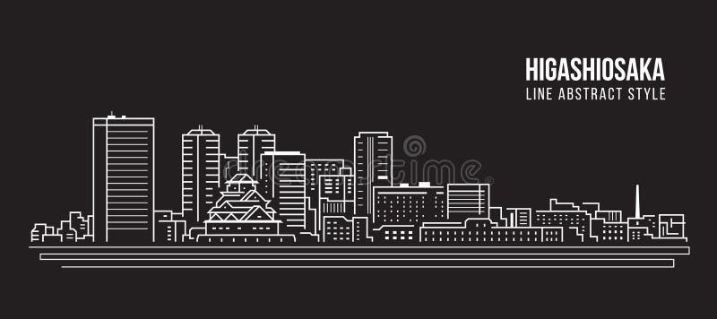 Linha projeto da construção da arquitetura da cidade da ilustração do vetor da arte - Higashiosaka ilustração stock