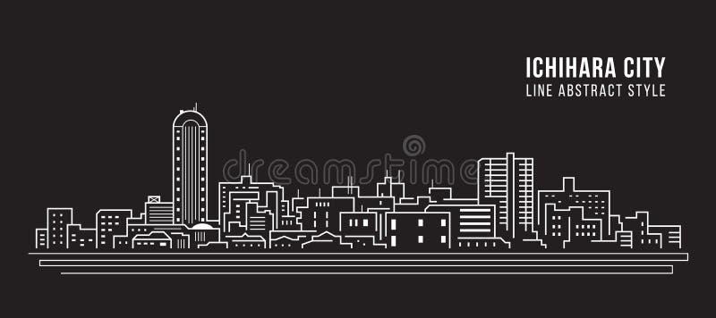 Linha projeto da construção da arquitetura da cidade da ilustração do vetor da arte - Ichihara ilustração stock