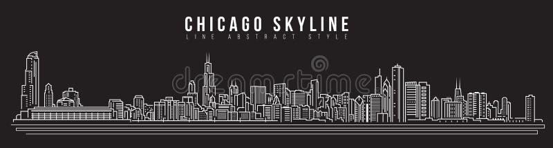 Linha projeto da construção da arquitetura da cidade da ilustração do vetor da arte - skyline de Chicago ilustração royalty free