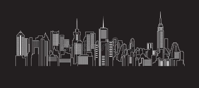 Linha projeto da construção da arquitetura da cidade da ilustração do vetor da arte ilustração do vetor