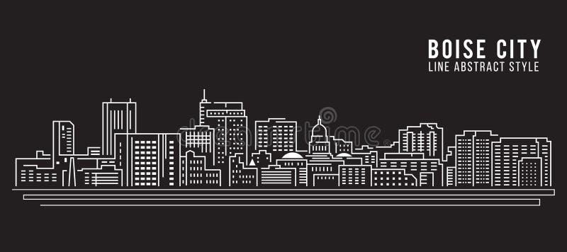 Linha projeto da construção da arquitetura da cidade da ilustração do vetor da arte - Boise City ilustração do vetor