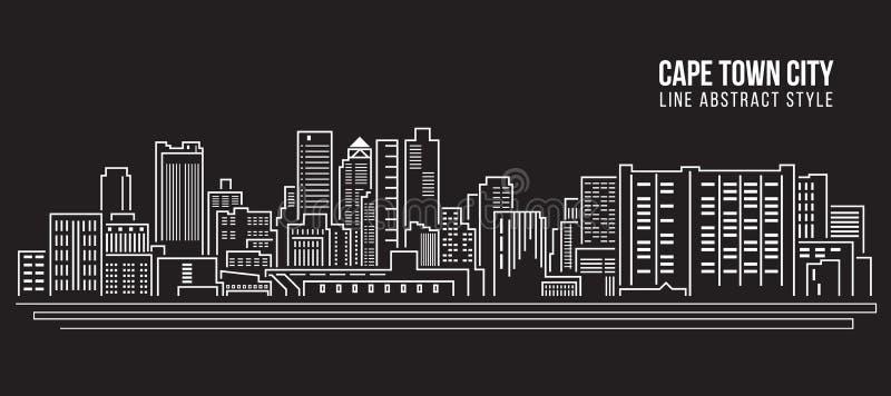 Linha projeto da construção da arquitetura da cidade da ilustração do vetor da arte - cidade da cidade do cabo ilustração royalty free