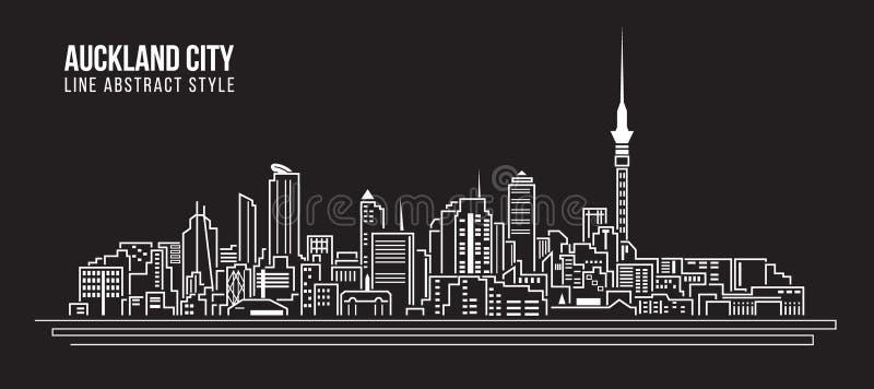 Linha projeto da construção da arquitetura da cidade da ilustração do vetor da arte - cidade de Auckland ilustração royalty free