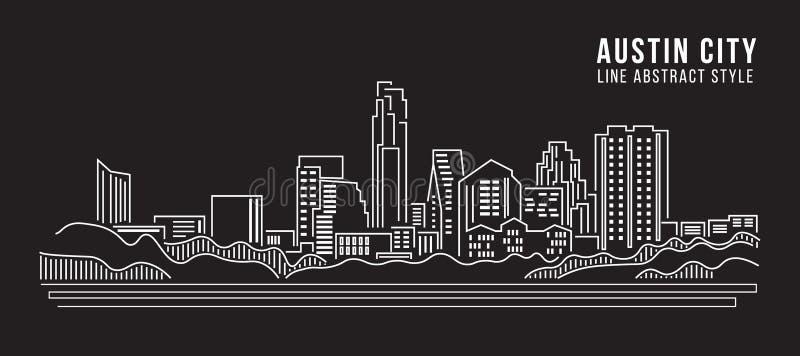 Linha projeto da construção da arquitetura da cidade da ilustração do vetor da arte - cidade de Austin ilustração stock
