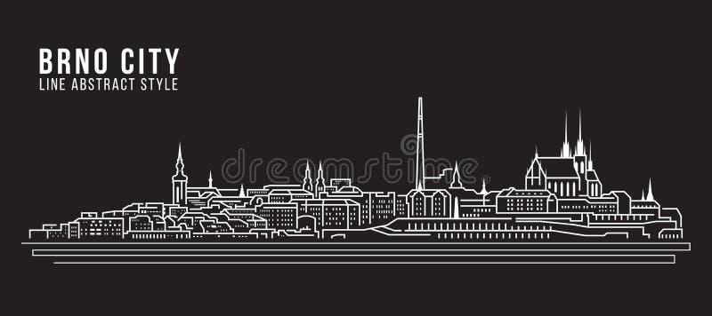 Linha projeto da construção da arquitetura da cidade da ilustração do vetor da arte - cidade de Brno ilustração do vetor
