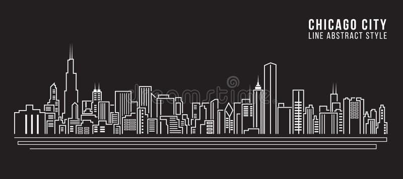 Linha projeto da construção da arquitetura da cidade da ilustração do vetor da arte - cidade de Chicago ilustração stock
