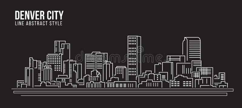Linha projeto da construção da arquitetura da cidade da ilustração do vetor da arte - cidade de Denver ilustração royalty free