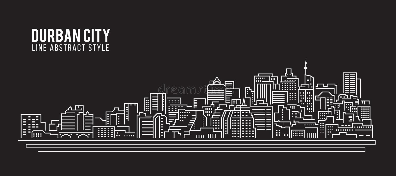 Linha projeto da construção da arquitetura da cidade da ilustração do vetor da arte - cidade de Durban ilustração stock