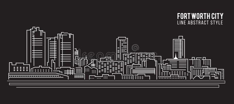 Linha projeto da construção da arquitetura da cidade da ilustração do vetor da arte - cidade de Fort Worth ilustração do vetor