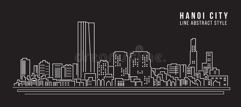 Linha projeto da construção da arquitetura da cidade da ilustração do vetor da arte - cidade de Hanoi ilustração stock