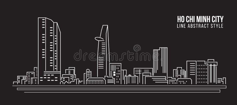 Linha projeto da construção da arquitetura da cidade da ilustração do vetor da arte - cidade de Ho Chi Minh ilustração stock