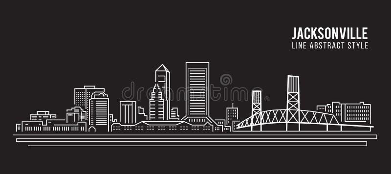 Linha projeto da construção da arquitetura da cidade da ilustração do vetor da arte - cidade de jacksonville ilustração stock