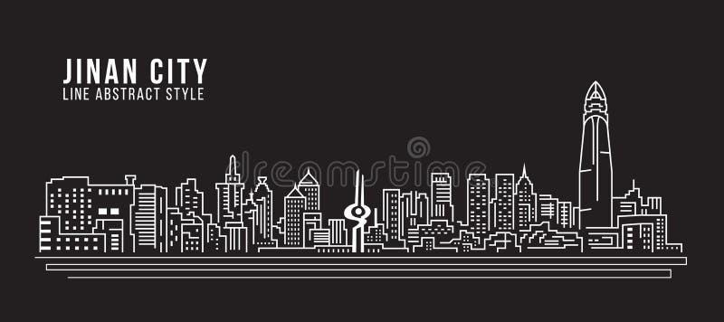 Linha projeto da construção da arquitetura da cidade da ilustração do vetor da arte - cidade de Jinan ilustração royalty free