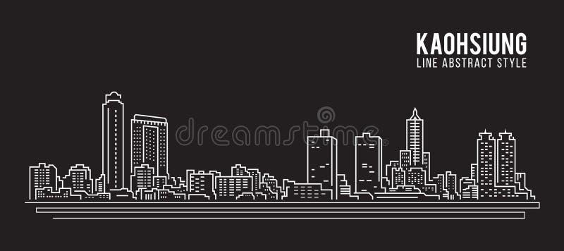 Linha projeto da construção da arquitetura da cidade da ilustração do vetor da arte - cidade de Kaohsiung ilustração stock