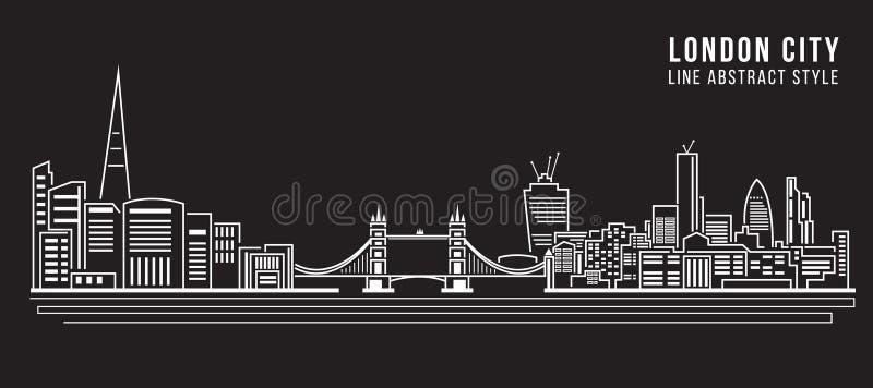 Linha projeto da construção da arquitetura da cidade da ilustração do vetor da arte - cidade de Londres ilustração stock