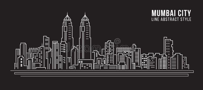 Linha projeto da construção da arquitetura da cidade da ilustração do vetor da arte - cidade de mumbai ilustração stock