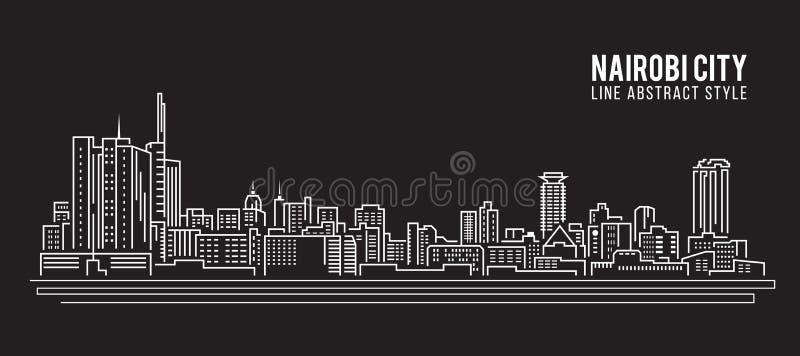 Linha projeto da construção da arquitetura da cidade da ilustração do vetor da arte - cidade de Nairobi ilustração stock