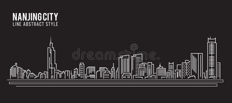 Linha projeto da construção da arquitetura da cidade da ilustração do vetor da arte - cidade de Nanjing ilustração royalty free