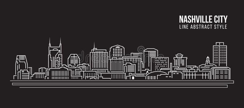 Linha projeto da construção da arquitetura da cidade da ilustração do vetor da arte - cidade de Nashville ilustração stock