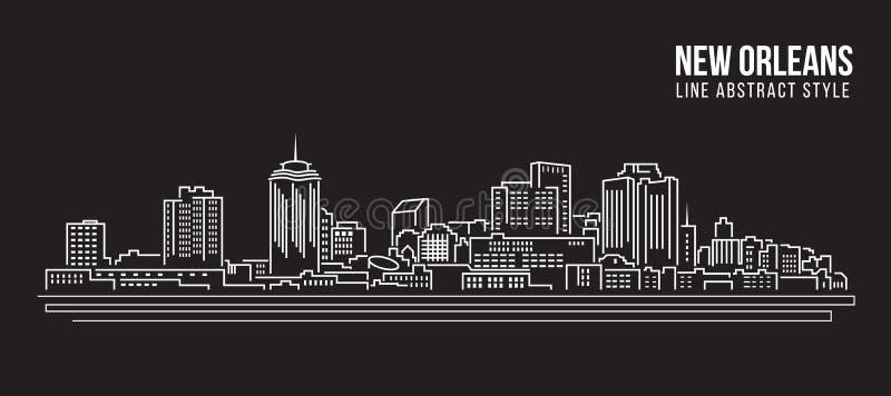 Linha projeto da construção da arquitetura da cidade da ilustração do vetor da arte - cidade de Nova Orleães ilustração do vetor
