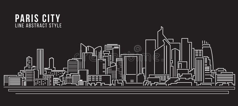 Linha projeto da construção da arquitetura da cidade da ilustração do vetor da arte - cidade de Paris ilustração royalty free