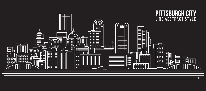 Linha projeto da construção da arquitetura da cidade da ilustração do vetor da arte - cidade de Pittsburgh ilustração stock