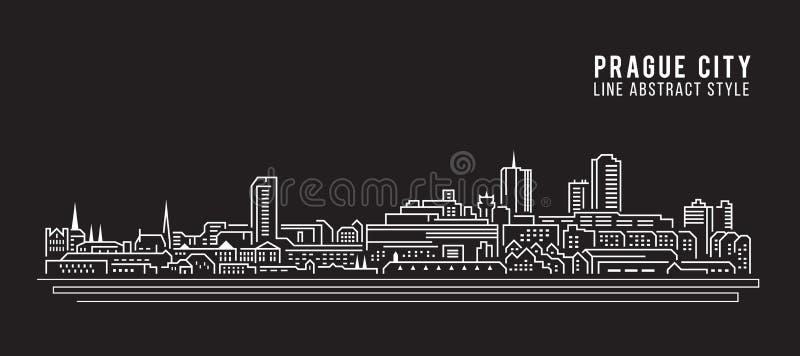 Linha projeto da construção da arquitetura da cidade da ilustração do vetor da arte - cidade de Praga ilustração royalty free