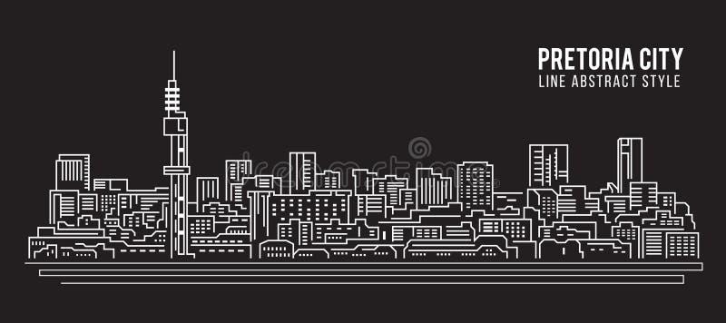 Linha projeto da construção da arquitetura da cidade da ilustração do vetor da arte - cidade de Pretoria ilustração do vetor